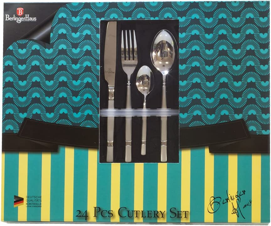 24-Piece Stainless Steel Satin Dealing full price reduction Trust Finish Cutlery Berlinger by Sets