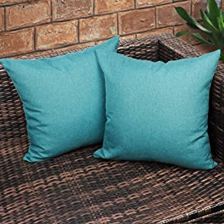 CZHO Pack of 2, Decorative Outdoor Waterproof Throw Pillow Covers, Square UV Protection Garden Cushion Case, PU Coating Pillow Shell for Patio, Porch and Balcony (Turquoise Blue,20x20 Inch)