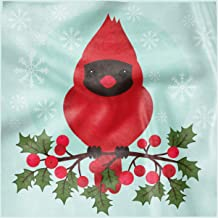 Lunarable Cardinal Square Napkins Set of 4, Cartoon Bird Sitting on a Branch of Holly Berry with Snowflake Background, 12