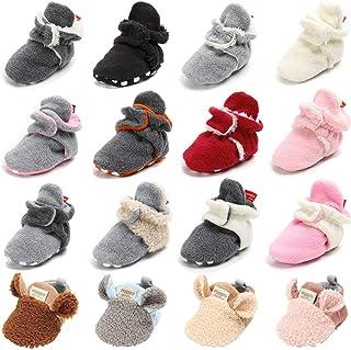 BENHERO 婴儿舒适羊毛靴,带防滑底部新生儿袜,初学步鞋