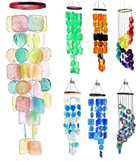 Bellaa 20713 Capiz Wind Chime Pastel Color Soft Sound 27 inch