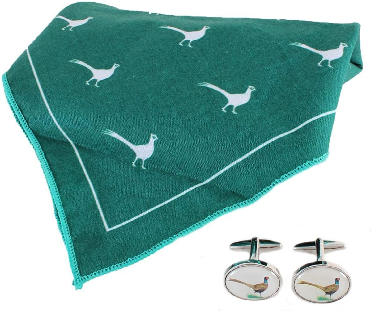 David Van Hagen Mens Pheasant Handkerchief and Cufflink Set - Green/White