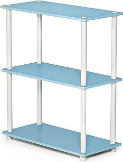 FURINNO Turn-N-Tube Display Rack, 3-Tier Single, Light Blue/White
