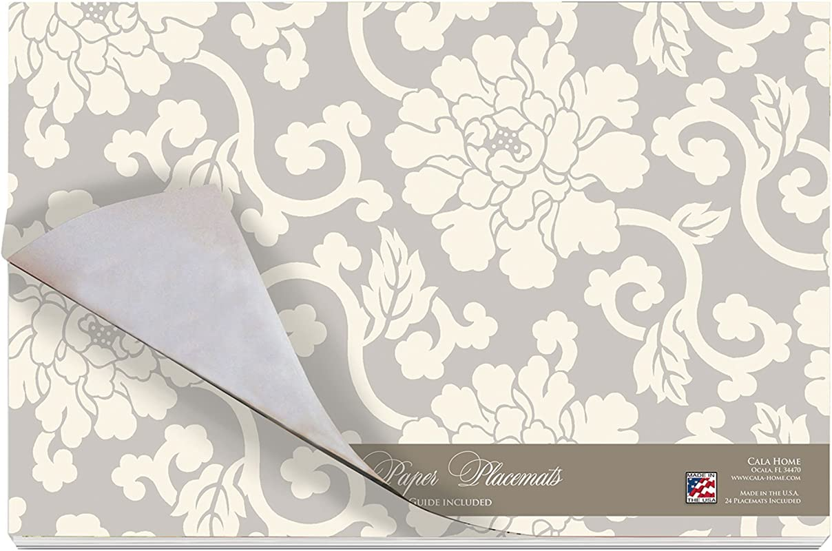 Cala Home 24 Pack Disposable Paper Placemats Williamsburg Peony Damask