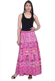Kastiel Pink Cotton Long Printed Sanganeri Jaipuri Skirt for Woman's/Girls