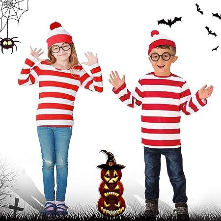 ウォーリー コスプレ 仮装 ウォーリーを探せ ハロウィン コスチューム ハロウィン 衣装 ウォーリー風… (XL, 子供)