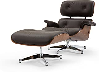 Pasargad Home Florence Leather Lounge Chair Brown