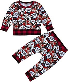 Baby Boys Girls 2PCS Outfit Set Kids Cartoon Long Sleeve Tops with Pants Trousers Christmas Clothes
