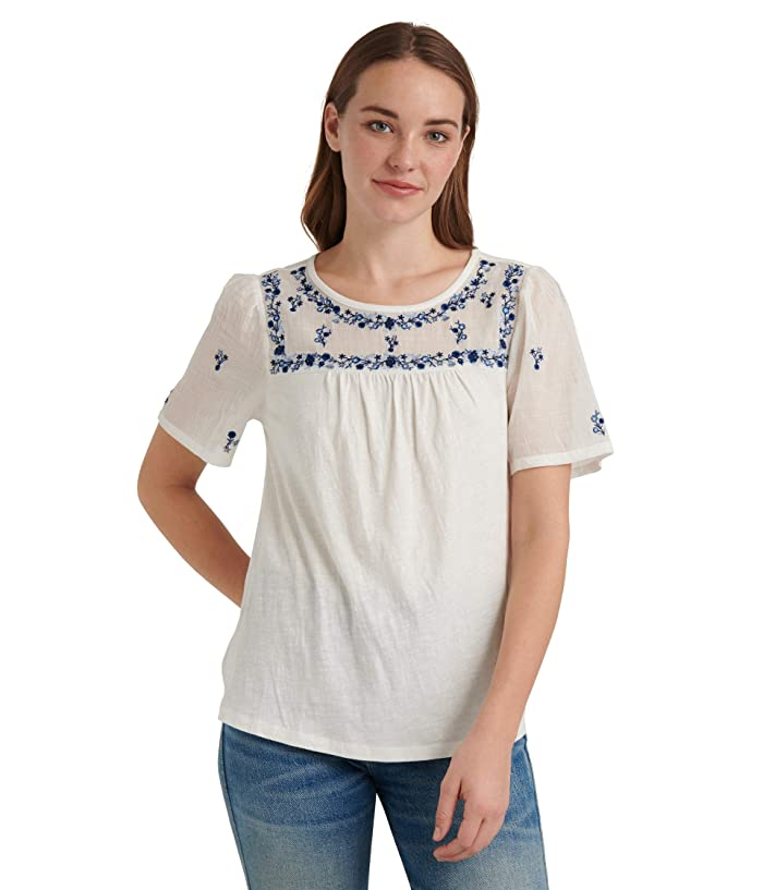Lucky Brand  Short Sleeve Crew Neck Embroidered Bib Knit Mix Top (Bright White) Womens Clothing
