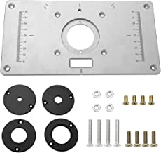 Aluminum Router Table Insert Plate the Trim Panel for Woodworking Benches with 4 Rings, Screws