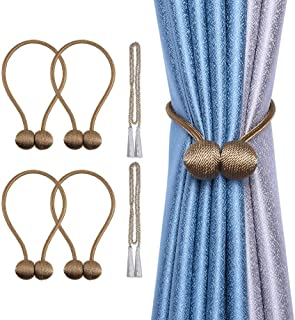 cyrico Magnetic Curtain Tiebacks, Decorative Curtain Holdbacks Rope Holdbacks Convenient Drape Tie Backs for Thick Sheer Curtains Light Weight Drapes Outdoor and Indoor Curtains (Brown(4 Pack))