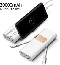 iWALK 20000mAh Power Bank Quick Charge QC3.0/2.0 Built-in Type-C & Micro USB Cables, Portable Charger External Battery Pack Compatible with iPhone Xs Max X 8 7 6 Plus, Samsung S9/S8 and More (White)