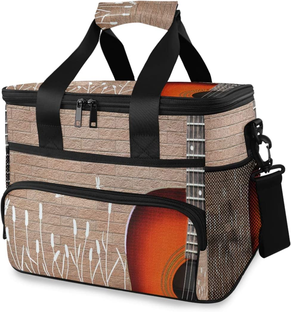 TropicalLife Cooler Time sale Max 82% OFF Lunch Bag Dragonfly Guitar Wall Brick Music