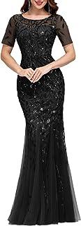 Ever-Pretty Women's Illusion Embroidery Elegant Mermaid Evening Dress 07707