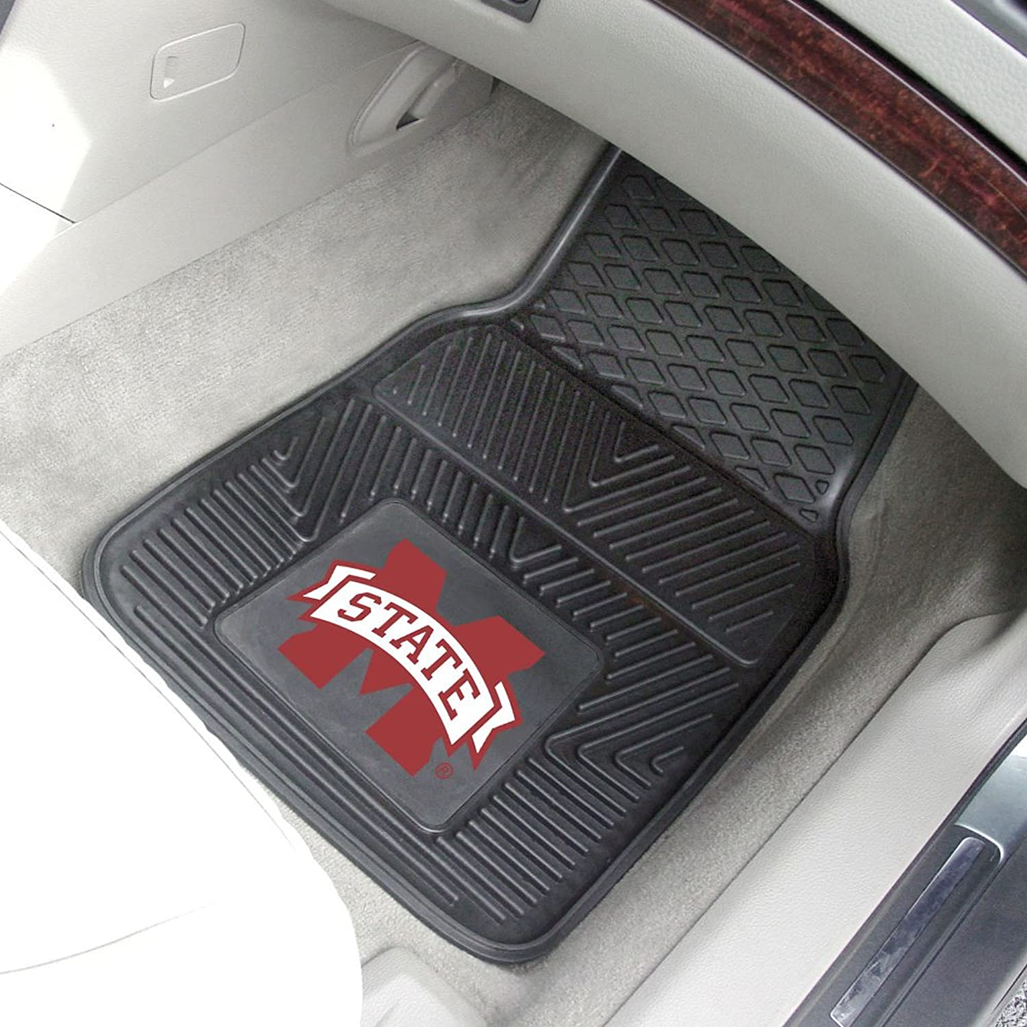 Fanmats Home Indoor Sports Team Logo Mississippi State Heavy Duty 2Piece Vinyl Car Mats 18 x27