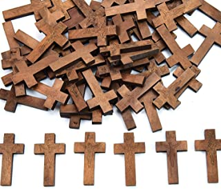 SenseYo 100 PCS Wooden Cross Set for Crafts or Church Carnival Fundraising Religious Jewelry Gifts