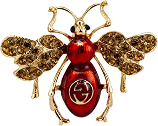 Red and Gold Power Dressing Bee with Swarovski Detailing Brooch