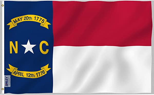 Anley Fly Breeze 3x5 Foot North Carolina State Polyester Flag Vivid Color And UV Fade Resistant Canvas Header And Double Stitched North Carolina NC Flags With Brass Grommets 3 X 5 Ft