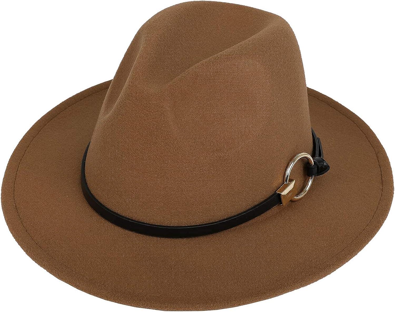 Dantiya Men & Women Vintage Wide Brim Felt Fedora Hat Wide Brim Panama Hats with Belt Metal Buckle …