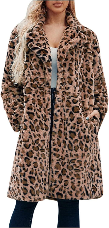 iLUGU Women's Winter Warm Turndown Faux Fur Leopard Cardigan Jacket Long Sleeve Coat Long Jacket Outerwear