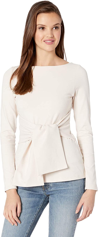 Susana Monaco Womens Tie Waist Long Sleeve Top