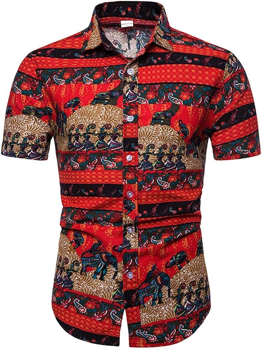Men's Large Size Shirt Casual Lapel Slim Fit Elephant Print Linen Short Sleeve Flower Shirt Simple Shirt
