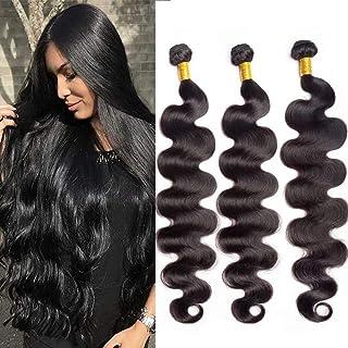 Brazilian Body Wave Human Hair Bundles 12A Unprocessed Remy Human Hair Bundles Weave Hair Human Bundles Brazilian Virgin Hair For Black Women 3 Bundles (34 36 38) Inch