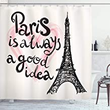 Ambesonne Eiffel Tower Shower Curtain, Lettering in Heart Modern Europe Dream Tour Sketch Illustration, Cloth Fabric Bathroom Decor Set with Hooks, 75 Long, Pink Black