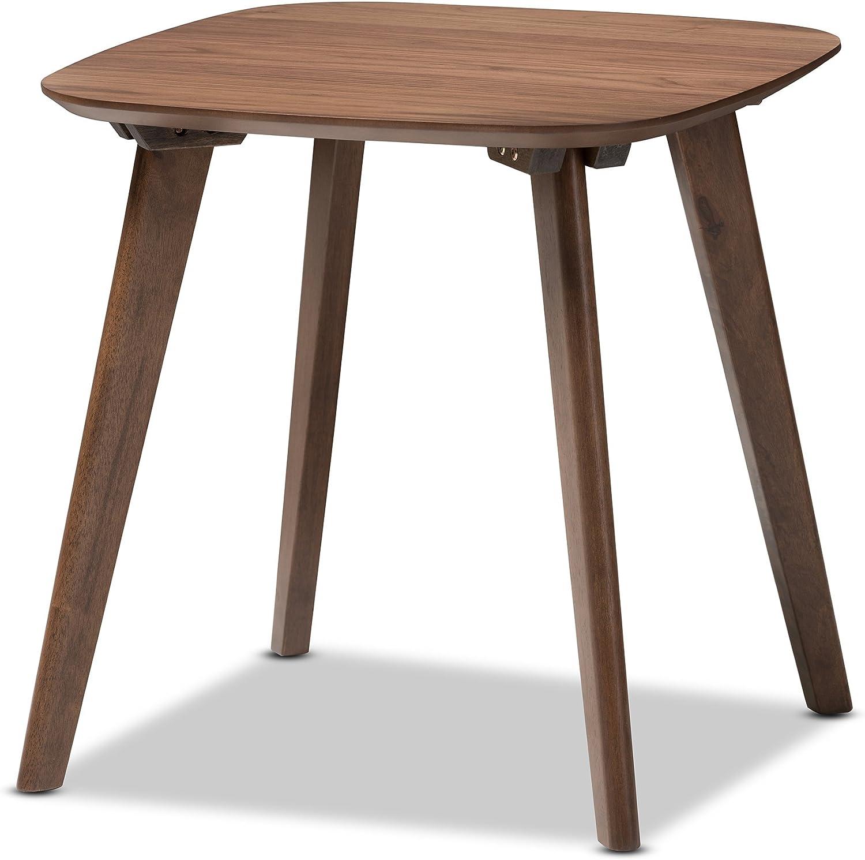 Baxton Studio Dahlia Mid-Century Modern Wood End Table, Walnut Brown