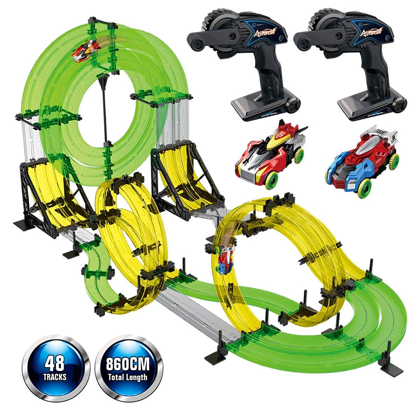 Bullker Rail Race RC Track Car Toys 860cm Build Your Own 3D Super Track Ultimate Slot Car Playset 2 Cars 2 Remote Controller Party Game Kids Friends