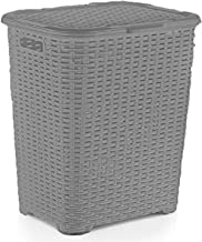 Superio Laundry Hamper Basket With Easy Open Lid 60 Liter Grey, Large Wicker Hamper, Dirty Cloths Storage With Two Cutout ...