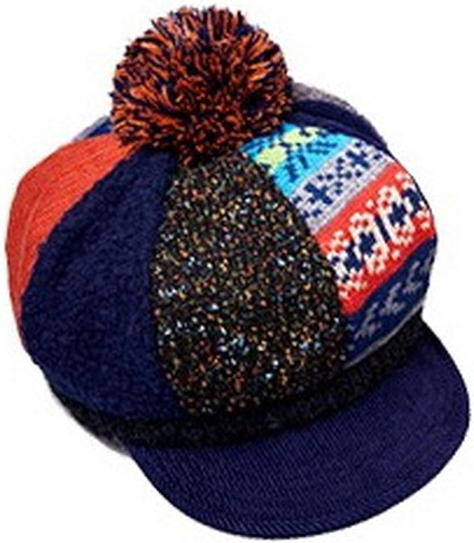 Autumn Winter Keep Warm Beret Ma'am time Octagonal Cap Fur Thickening Hair Ball Painter's hat Buds