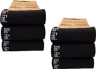 BIOFEEL, x6 Pares - Calcetines para Hombre - Algodón orgánico - Calcetines deportivos de primera calidad - Color blanco o negro