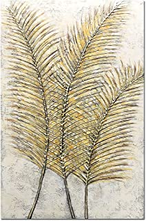 Yotree Paintings, 24x36 Inch Paintings Yellow Gold Leaves Gold Feather Oil Hand Painting 3D Hand-Painted On Canvas Abstract Artwork Art Wood Inside Framed Hanging Wall Decoration