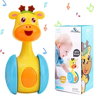 Tinabless Giraffe Tumbler Doll Roly-Poly Baby Toys, Cute Rattles Toys for Newborns 3-12 Month Baby Boys and Girls Xmas Birthday Gifts Stocking Fillers