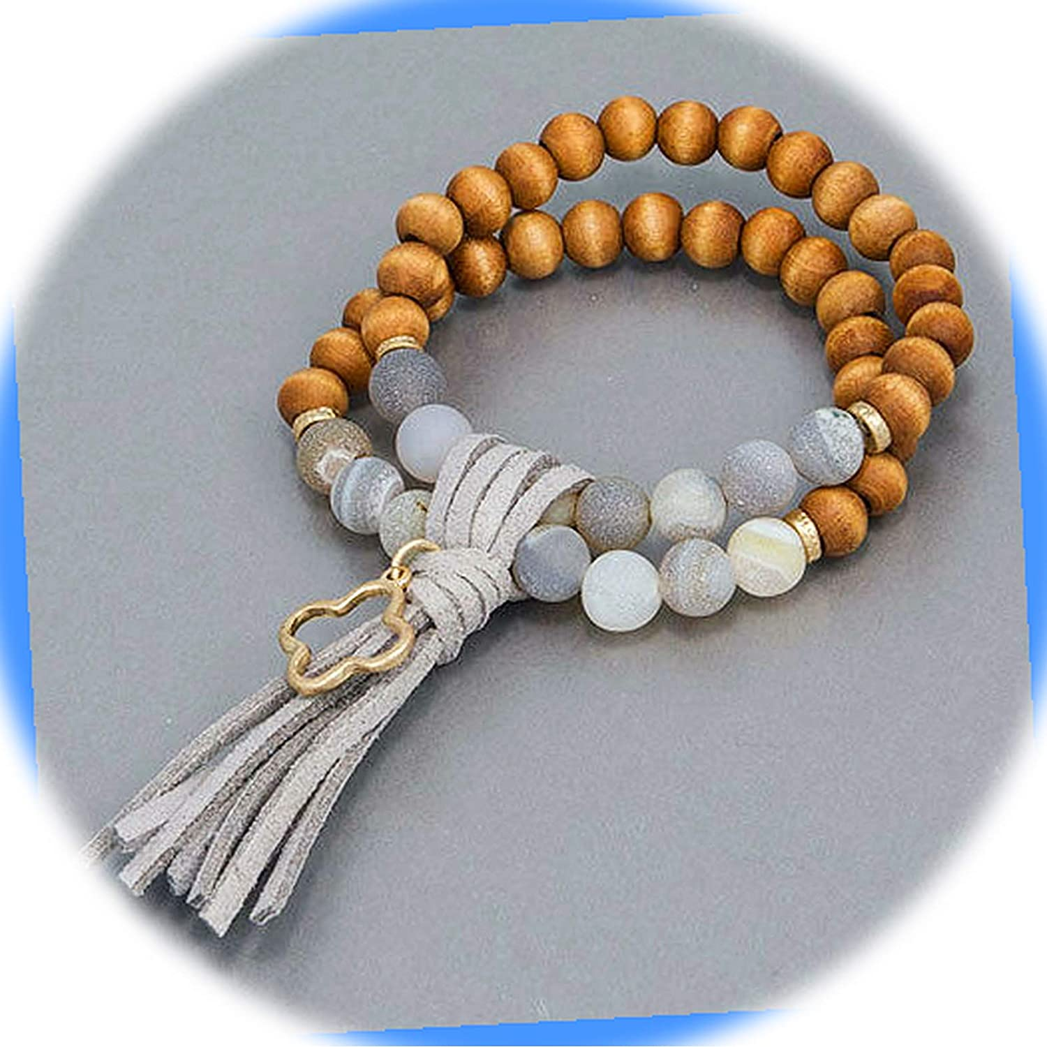 New Real Wood Stone Beaded Outlet sale feature Double Design Tassel OFFer Open Charm Gray