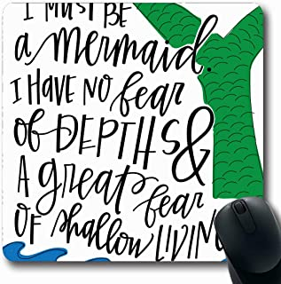 Ahawoso Mousepads for Computers Handlettered Blue Hand Mermaid Quote Green Saying Ocean Anais Nin Living Oblong Shape 7.9 x 9.5 Inches Non-Slip Oblong Gaming Mouse Pad