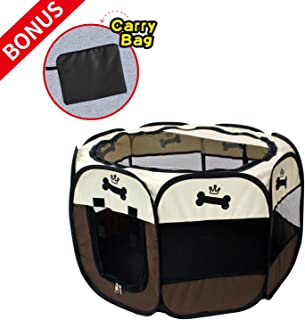 Pet Portable Foldable Playpen, Exercise 8-Panel Kennel Mesh Shade Cover Indoor/Outdoor Tent