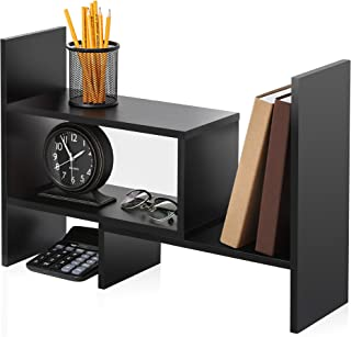 FITUEYES Wood Adjustable Display Shelf Desktop Organizer Office Storage Rack Corner Bookcase DT306801WB