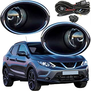 HUAHEE Front Halogen Fog Lamps Bumper Driving Lights For Nissan Qashqai 2014 2015 2016 2017 2018 (One Pair) Fog Light Assemblies Wiring Kit Included Bulb:H11-12V-55W