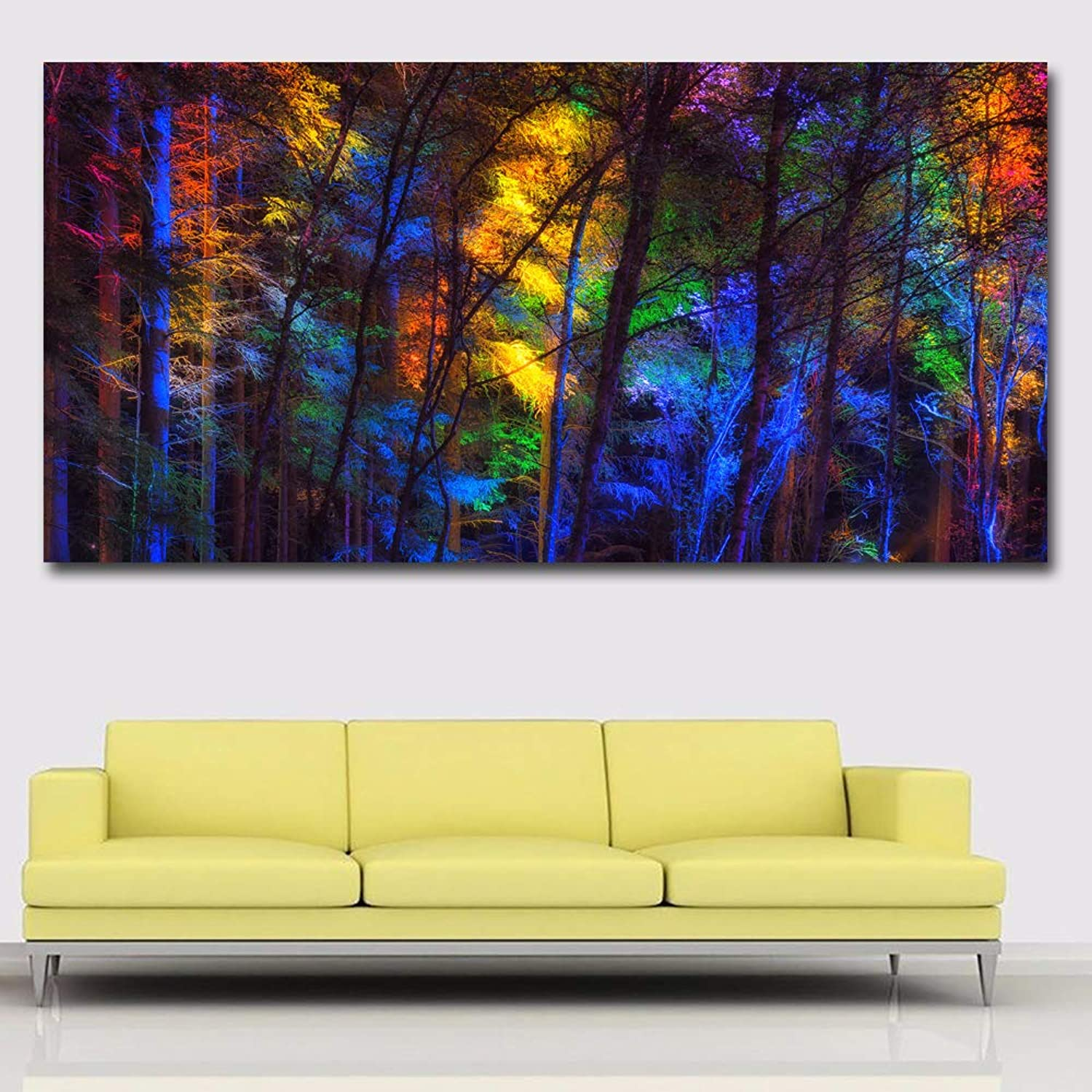 W15Y8 colorful Tree Forest Landscape Painting Wall Art Canvas Prints Posters For Living Room Modular Pictures 70X140Cm No Fram