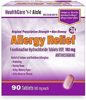 HealthCareAisle Allergy Relief Fexofenadine Hydrochloride Tablets, USP   24 Hour Allergy Relief  180 mg  90 Count