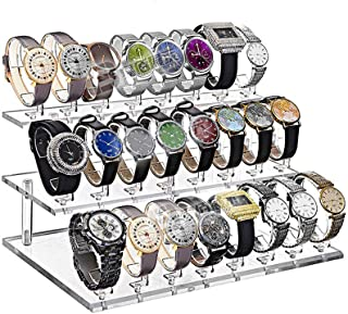 Z.N.Z 24 Slot Clear View Wrist Watch Display Stand Holder Rack Tabletop Show Stand Decoration Organizer (Transparent)