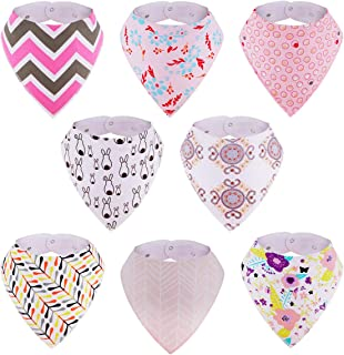 Baby Bibs, 8-Pack Kirecoo Bandana Drool Bibs Baby Girl Bibs for Drooling and Teething, 100% Organic Cotton and Super Absorbent Drool Hypoallergenic Bibs, Baby Shower Gift