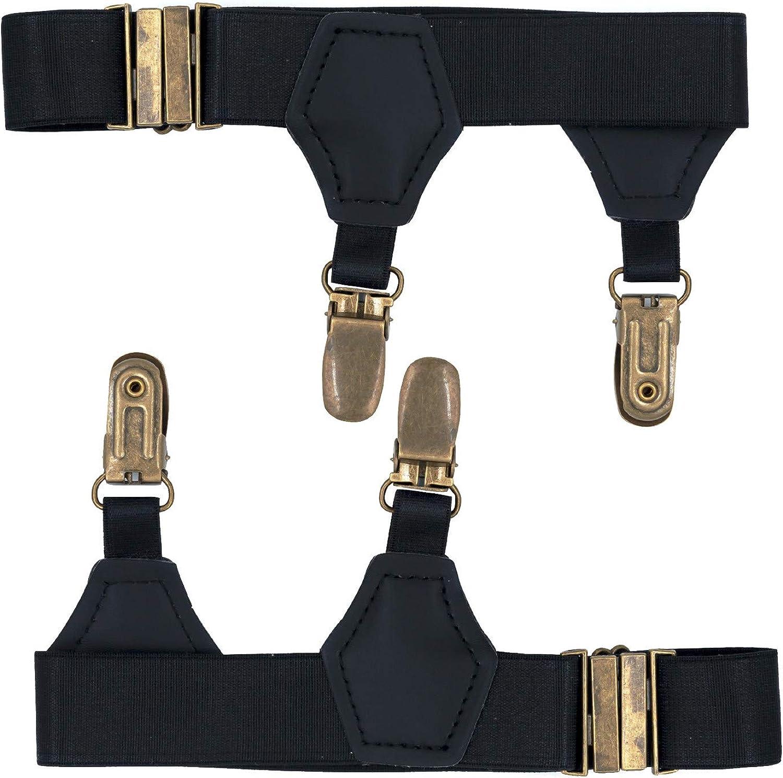 1 Pair Men Double Clip Sock Suspender Garter Belt Costume Accessories