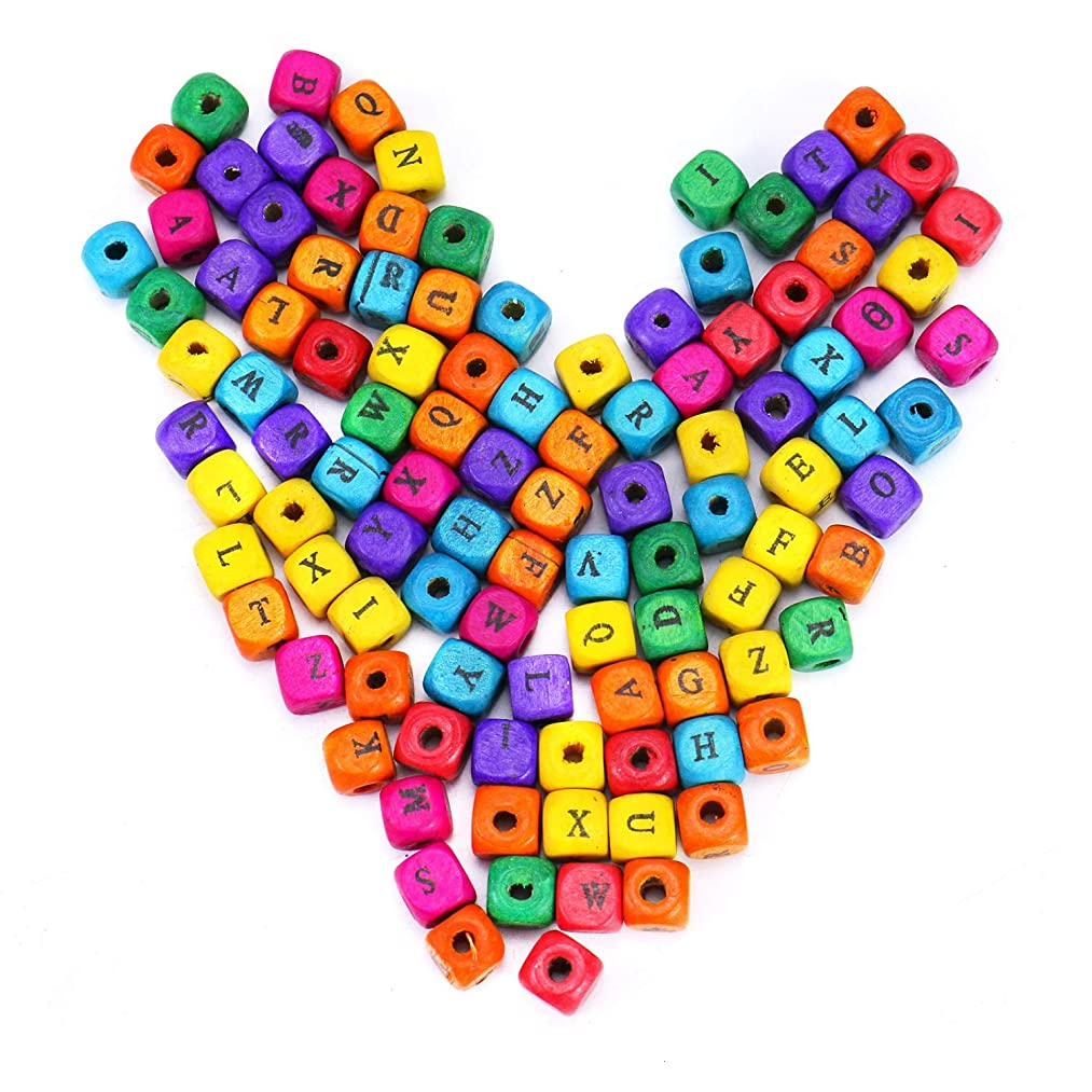 Monrocco 200Pcs Multicolor Wood Letter Cube Beads,Alphabet Letter A - Z Beads for Jewelry Making and Crafting