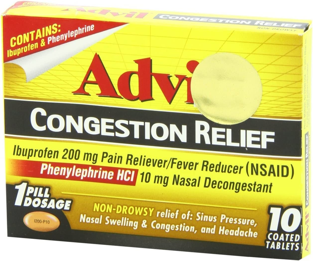 Advil Cold and Popular Translated popular Sinus 10 Count Caplets