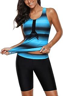 Womens Color Block Print Racerback Tankini Swimsuit with Long Shorts