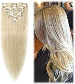 """Benehair Platinum Blonde Clip in Human Hair Extensions 16 inch for Highlighted Long Straight Remy Hair Skin Weft Clip On 8pcs Full Head Standard Weft for Women Party (16""""=65g #60)"""