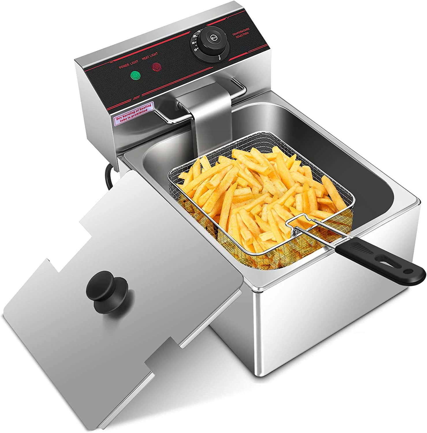 ARLIME Deep Fryer with Basket, 1700W Stainless Steel Electric Countertop Deep Fryer with 6.4 Quart Oil Container & Lid, Adjustable Temperature, Large Capacity Kitchen Frying Machine Perfect for Chicken, Shrimp, French Fries
